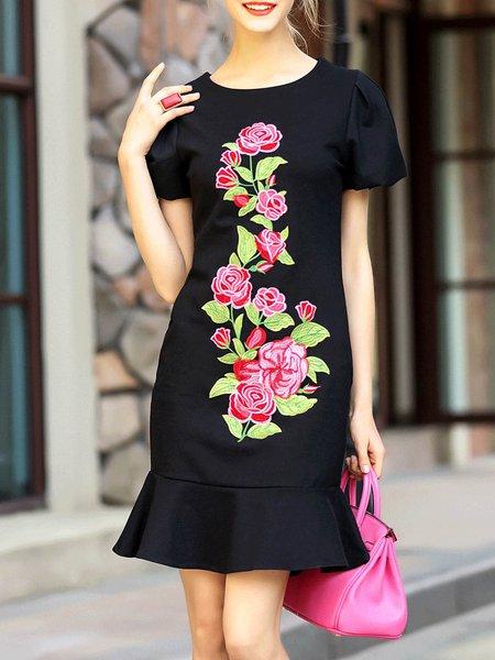 Balloon Sleeve Elegant Flounce Floral Midi Dress