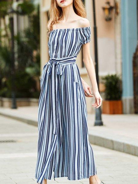 Blue Swing Short Sleeve Off Shoulder Stripes Maxi Dress