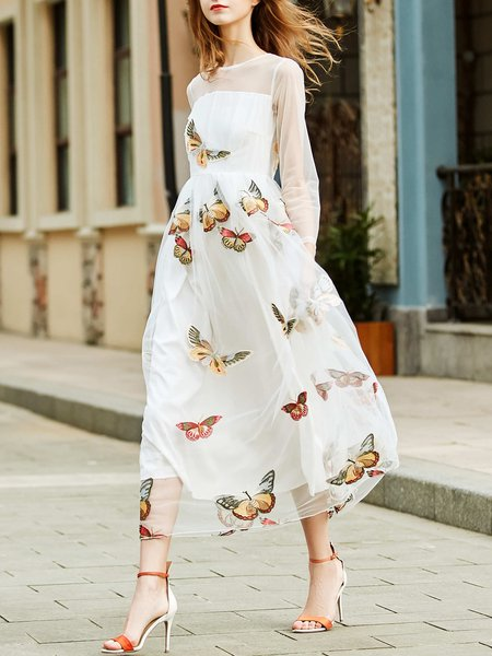 Animal Embroidered Casual Long Sleeve Crew Neck Maxi Dress
