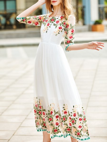 3/4 Sleeve Girly Floral-embroidered A-line Evening Dress