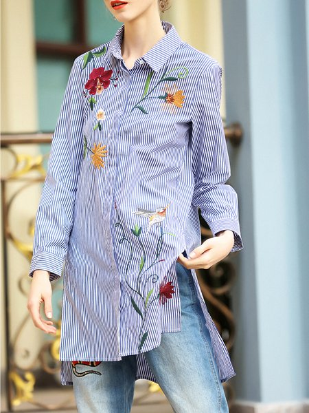 Embroidered Long Sleeve High Low Shirt Collar Blouse