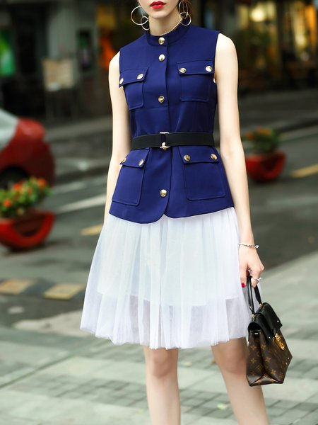 Navy Blue Stand Collar Two Piece Sleeveless Buttoned Midi Dress with Belt