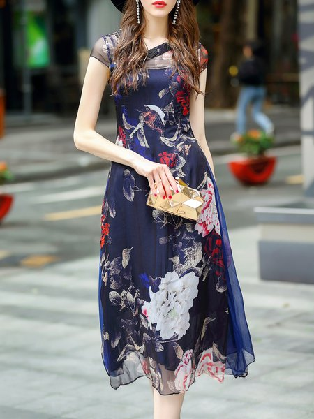 Vintage Style Floral Two Piece Buttoned Short Sleeve Midi Dress with Belt