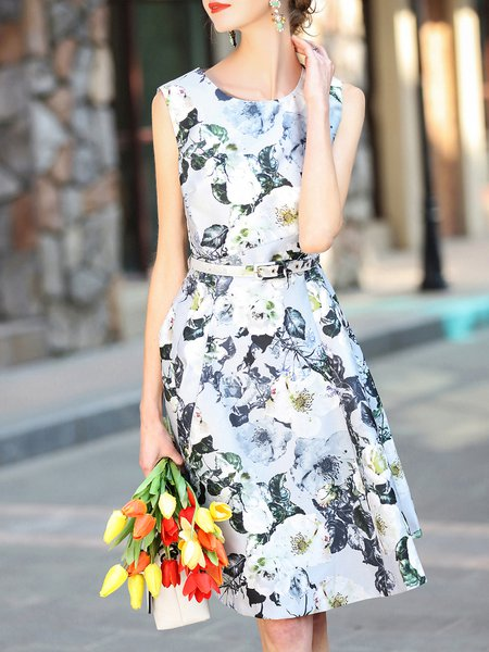 Gray Floral Sleeveless A-line Midi Dress with Belt