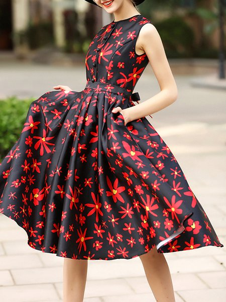 Floral Gathered Sleeveless Casual A-line Midi Dress with Belt