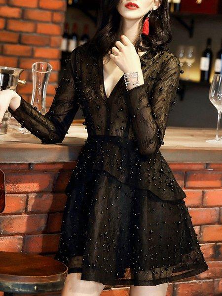 Black Long Sleeve Beaded V Neck Party Dress