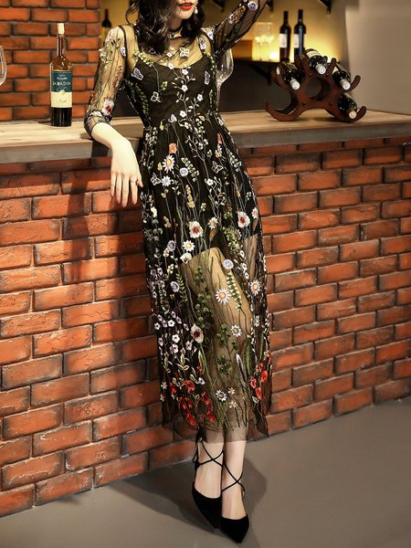 Black 3/4 Sleeve Two Piece Floral Embroidered Party Dress