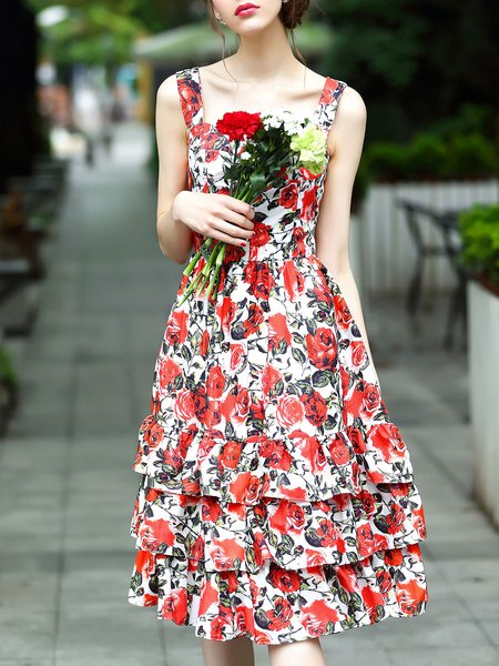 Girly Floral Tiered Sleeveless Flounce Party Dress
