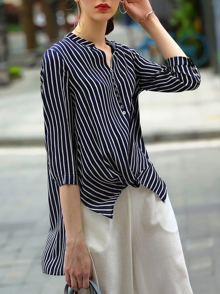 Casual High Low 3/4 Sleeve Stripes Blouse