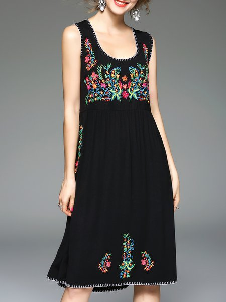 Black A-line Casual Embroidered Floral Midi Dress