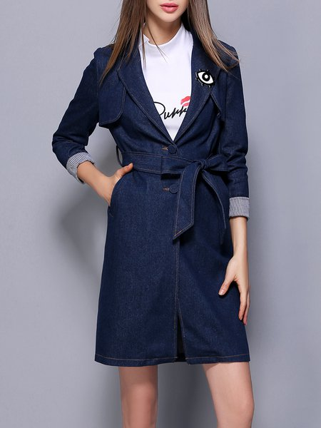 Lapel Denim Long Sleeve Casual Plain Coat with Belt