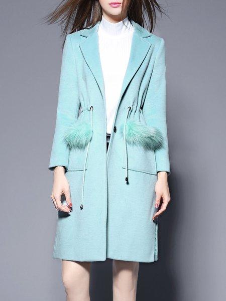 Aqua H-line Casual Solid Fur And Shearling Coat
