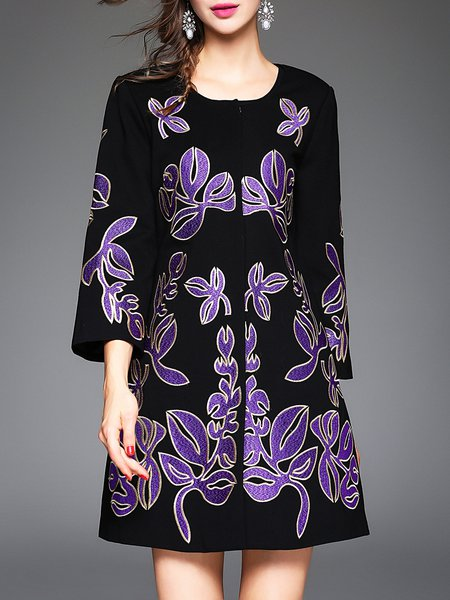 Purple H-line Embroidered Vintage Wool blend Coat