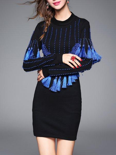 Beaded Fringed Long Sleeve Elegant Solid Mini Dress