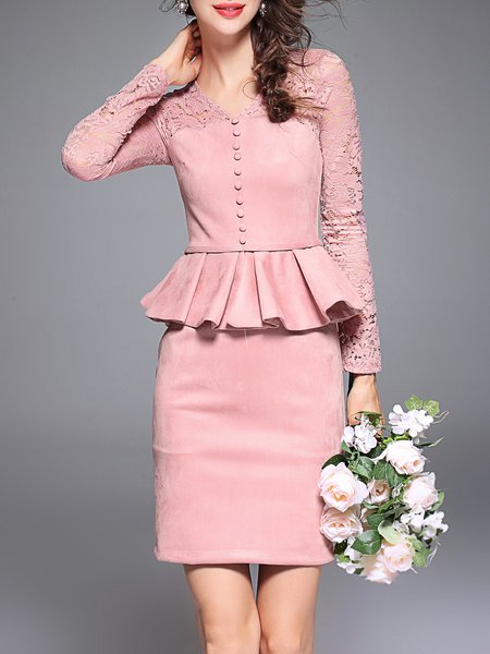 Pink Lace Elegant Ruffled Cotton-blend Mini Dress