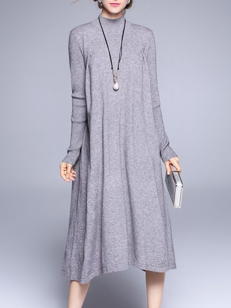 Casual Asymmetrical Long Sleeve Turtleneck Sweater Dress