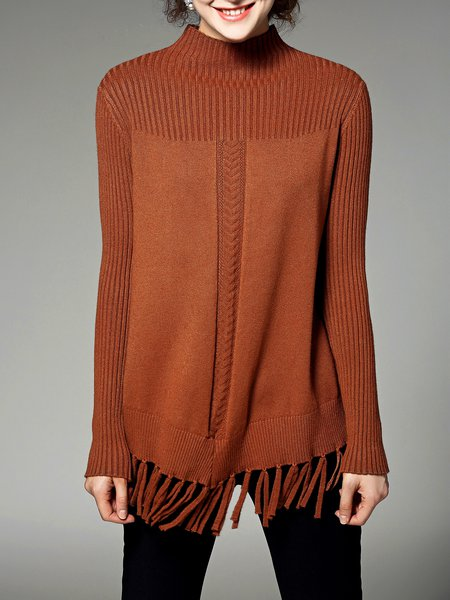 Camel Turtleneck Casual Fringed Plain Sweater