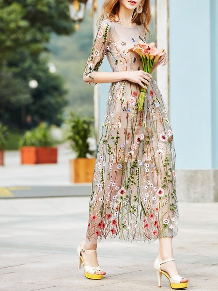 Gray Embroidered Floral Elegant Crew Neck Two Piece Maxi Dress