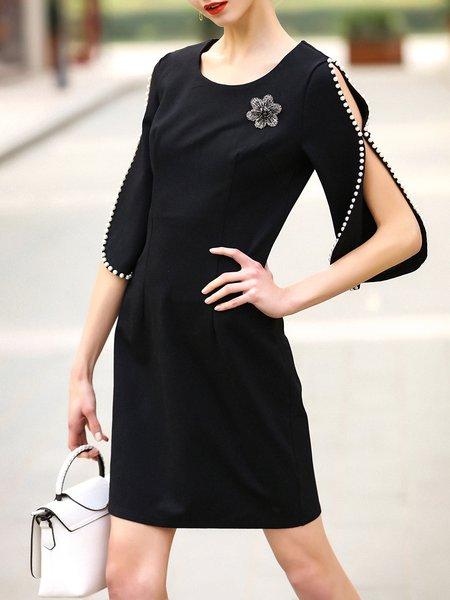 Beaded Elegant Frill Sleeve Midi Dress with Brooch