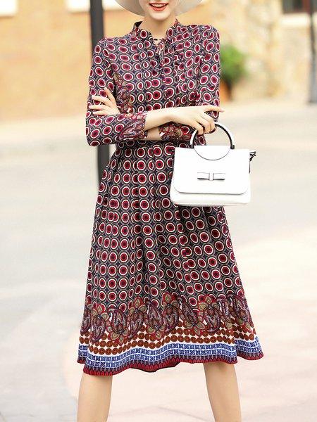 Multicolor Casual Keyhole Printed Midi Dress