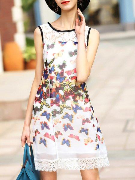 Paneled Sleeveless Animal Print Girly Mini Dress
