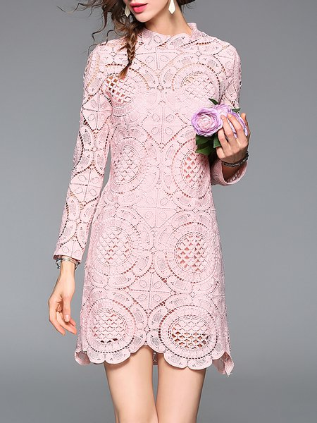 Two Piece Cotton-blend Long Sleeve Elegant Pierced Mini Dress