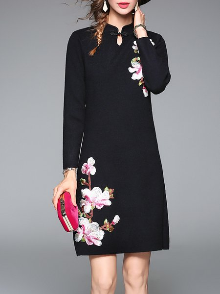 Stand Collar Floral Embroidered A-line Long Sleeve Midi Dress