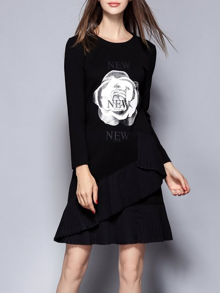 Cotton-blend Casual A-line Long Sleeve Printed Pleated Midi Dress