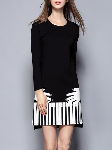 Black Printed Crew Neck Long Sleeve Mini Dress