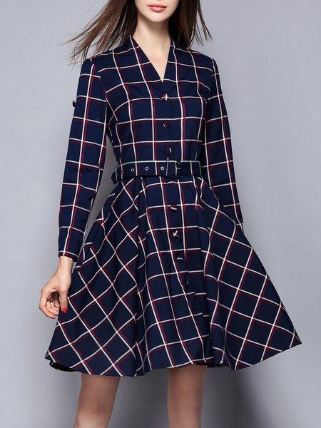 Simple Printed Cotton-blend Long Sleeve Plaid Shirt Dress