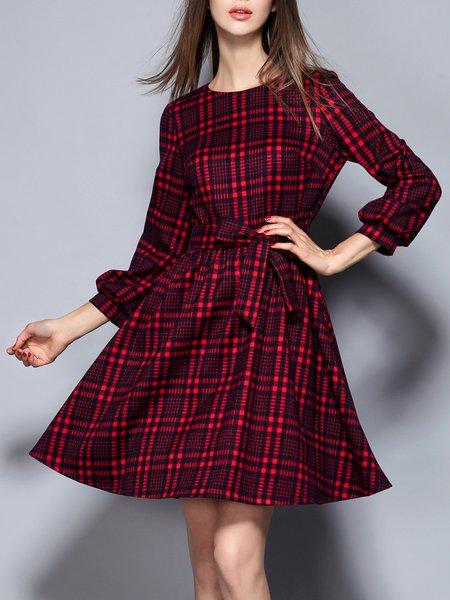 Bow Checkered/Plaid Vintage Long Sleeve Bow Printed Mini Dress