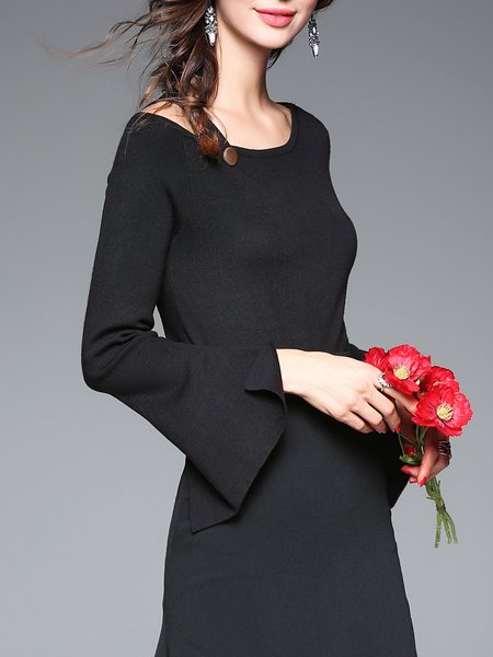 Black Bateau/boat Neck Plain Simple Casual Long Sleeved Top