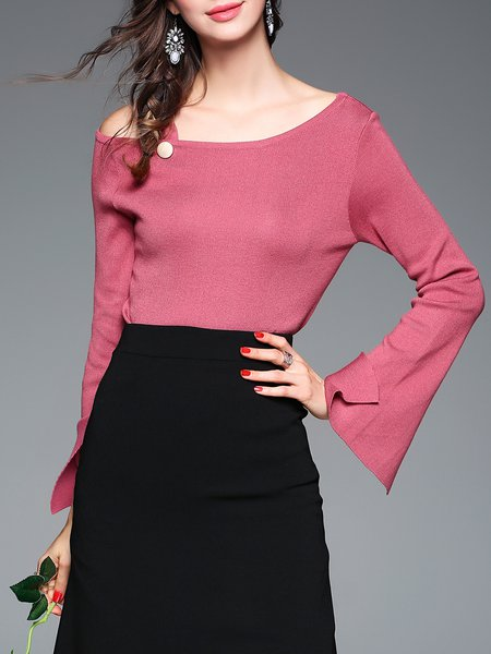 Simple Plain Casual Long Sleeved Top