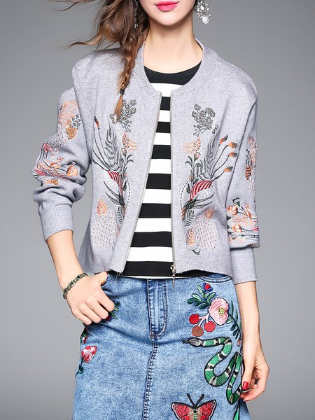 Gray Casual Floral Embroidered Cardigan