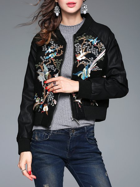 Black Long Sleeve Embroidered Stand Collar Bomber Jacket