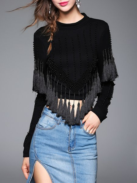 Black Casual Plain Fringed Cropped Top