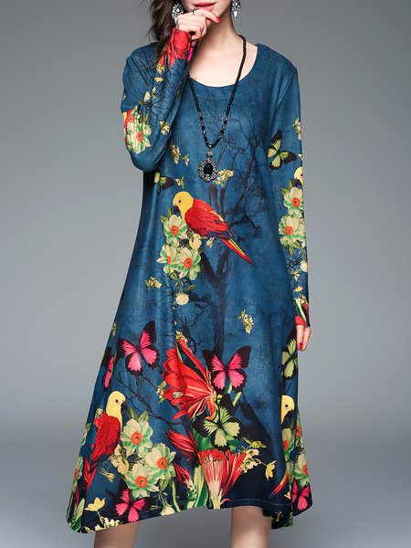 Blue Floral-print  Long Sleeve Shift Midi Dress