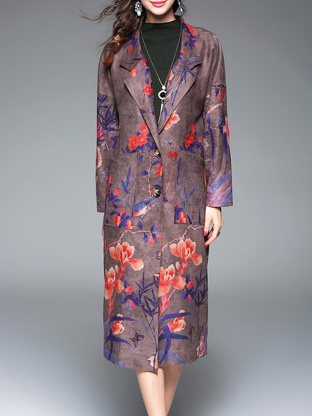 Lapel Buttoned Pockets Elegant Floral Polyester Coat
