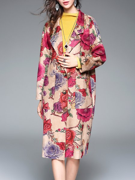 Vintage Floral Printed Long Sleeve Coat