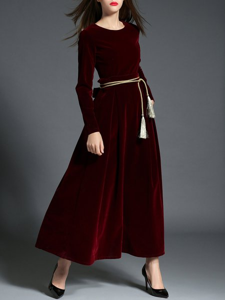 Velvet Elegant Long Sleeve Swing Evening Dress With Belt