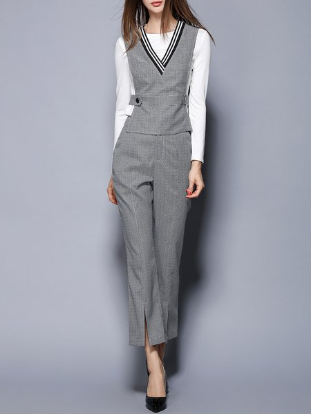 Black-white Houndstooth Formal Three Piece Suits And Separate
