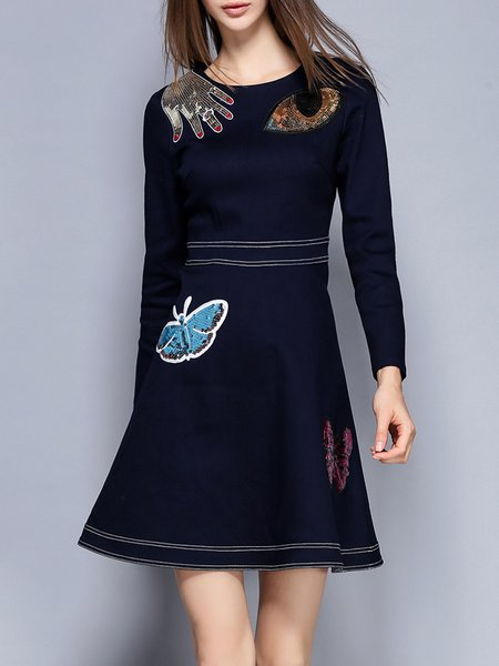 Dark Blue Long Sleeve Sequins Graphic Binding A-line Mini Dress