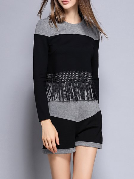 Gray Color-block Fringed Casual Cotton-blend Two Piece Romper