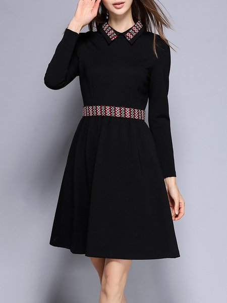 Shirt Collar Paneled Casual Long Sleeve Cotton-blend Midi Dress
