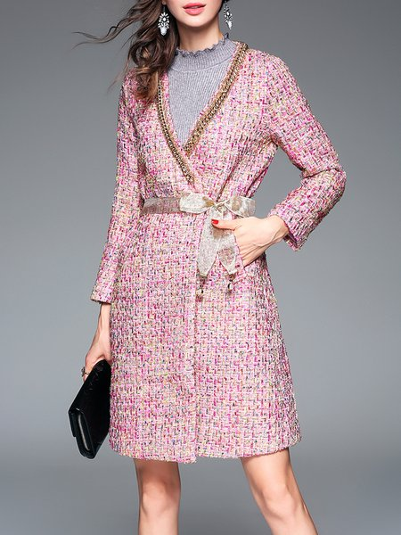 Pink Chain-trimmed A-line Elegant Tweed Coat With Belt