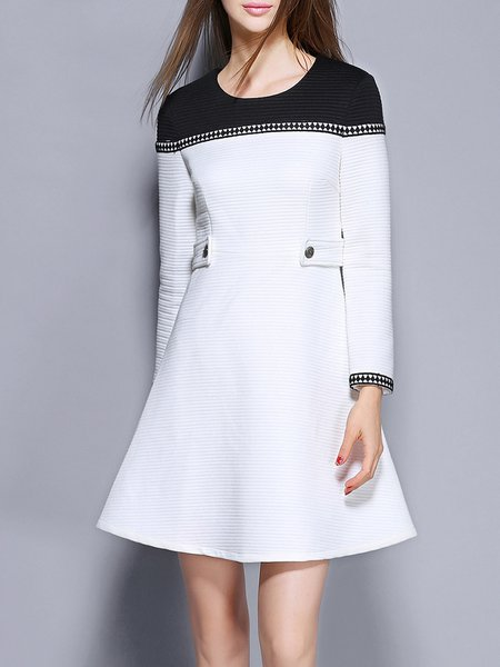 Color-block A-line Long Sleeve Plain Casual Mini Dress