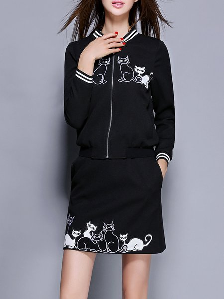 Embroidered Animal Print Long Sleeve Casual Two Piece Mini Dress