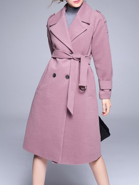 Deep Pink Wool Blend Lapel Casual Coat With Belt