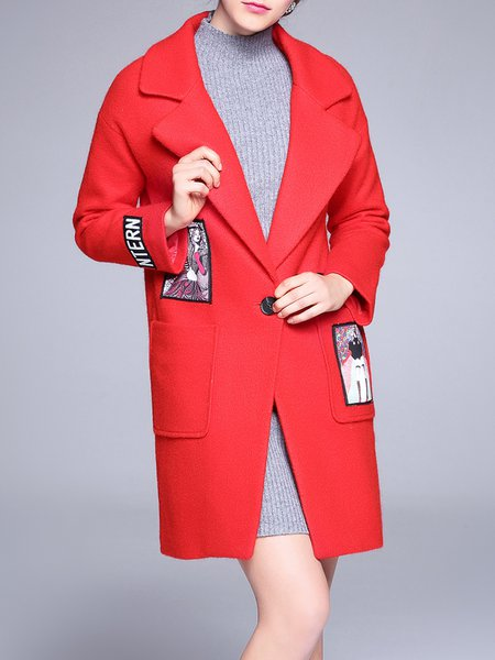 Red Graphic Long Sleeve Wool Blend Paneled Coat