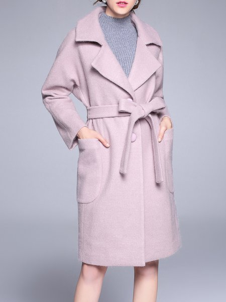 Buttoned Long Sleeve Wool Blend Elegant Coat With Belt